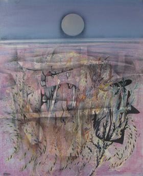 NUIT ROSE - HUILE SUR TOILE 100 x 80 cm - LOUIS TRABUC