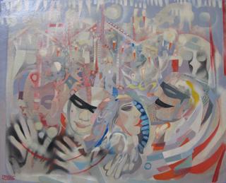 MASQUE ET JEUX DE MAINS - HUILE SUR TOILE 80 x 100 cm - LOUIS TRABUC