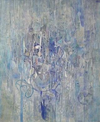 VIBRATIONS GRAPHIQUES - huile sur toile 73 X 60 CM - LOUIS TRABUC
