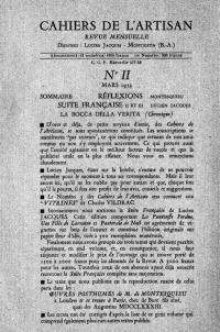 cahiers de l`artisan de Lucien Jacques