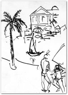 DESSIN DES BEAUX ARTS ` LE PALMIER ` LOUIS TRABUC