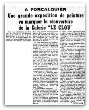 VERNISSAGE AU CLOU - 1960