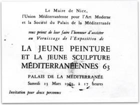 EXPOSITION LA JEUNE PEINTURE ET LA JEUNE SCULPTURE MEDITERRANEENNES - 1963
