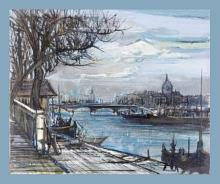 PARIS - LE PONT DES ARTS - PEINTURE LOUIS TRABUC