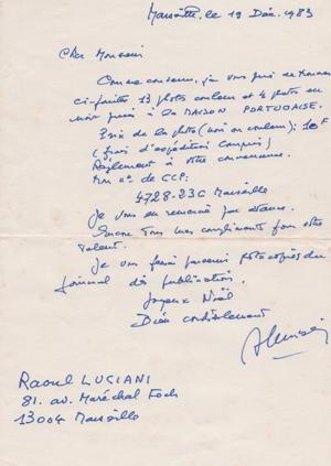 LETTRE MR LUCCIANI