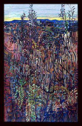 LES COLLINES BLEUES - HUILE SUR TOILE 35 x 22 cm - LOUIS TRABUC