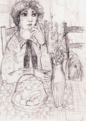 personnage au teckel - crayon 24 X 10 cm