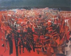TERRE ROUGE - HUILE SUR TOILE 80 x 100 cm - LOUIS TRABUC